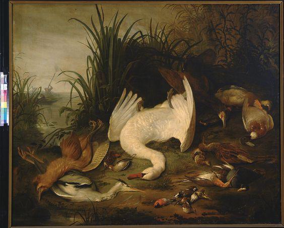 Jacob (II) de Wet, Dood gevogelte in een landschap (Landscape with dead birds), 1600/1699 (collection) #franshalsmuseum #art #painting #birds