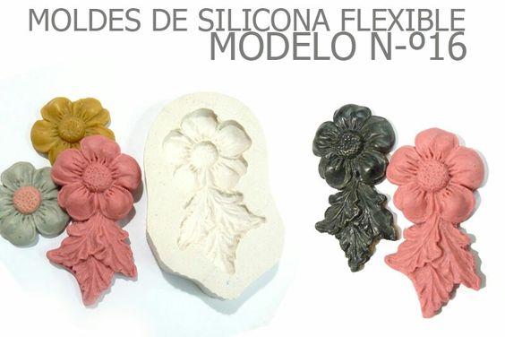 Molde de silicona numer 16 flor con 3 hojitas