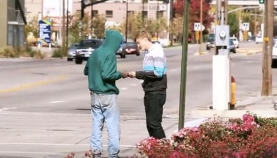 He Hands This To A Homeless Man, But It's His Reaction That Brought Tears To My Eyes..