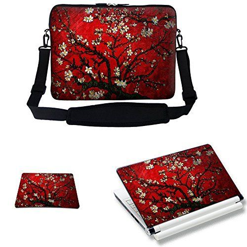 Meffort Inc 17 17.3 inch Laptop Carrying Sleeve Bag Case with Hidden Handle & Adjustable Shoulder Strap with Matching Skin Sticker and Mouse Pad Combo - Vincent van Gogh Cherry Blossoming, http://www.amazon.com/dp/B00GS793CA/ref=cm_sw_r_pi_awdm_FRWswb0PJMF0N