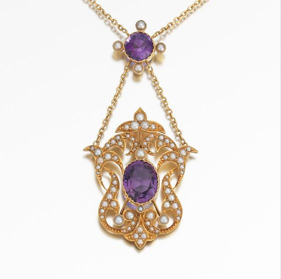 Amethyst and Seed Pearl Lavalier Necklace