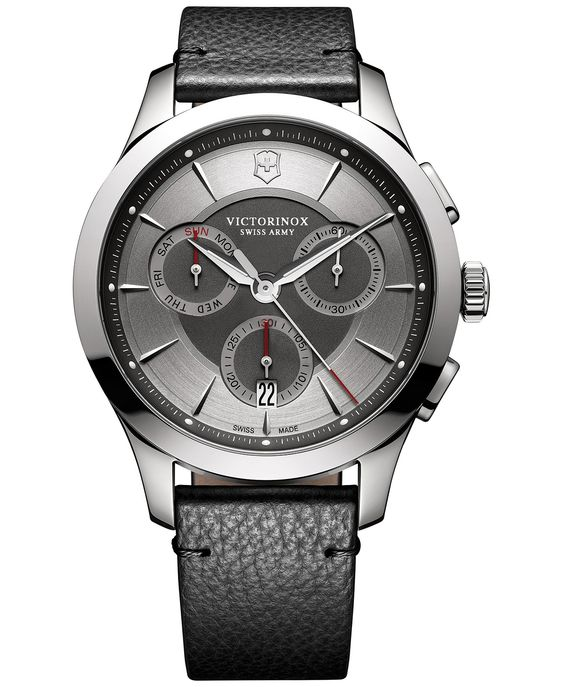 Victorinox Swiss Army Men's Swiss Chronograph Alliance Black Leather Strap Watch 44mm 241748 - Watches - Jewelry & Watches -