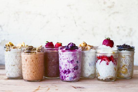 Greek yogurt in 7 ways: chocolate pudding, cookie dough, sliced maple apple, frozen fruit medley, banana bread, pumpkin pie, strawberry shortcake