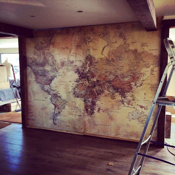 Old world map with compass. Rustic/vintage! Great interior design for living room, bedroom, kitchen etc.