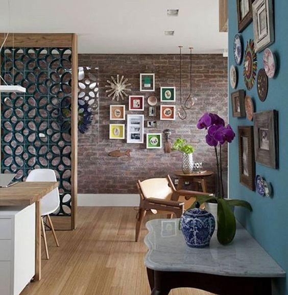 WEBSTA @ achados_4_marias - O cobogó pode ser ,muito bem integrado à decoração! #sala #mesa #quadro #aparador #cobogó #casa #home #apartamento #apê #piso #sofá #decoração #decor #good