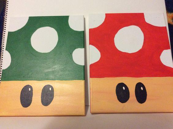 Mario Mushrooms by PaintingsbyTeri on Etsy