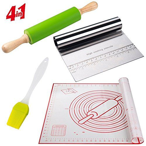 Pastry Mat With Rolling Pin Kit Cutter Scraper And Basting Brush