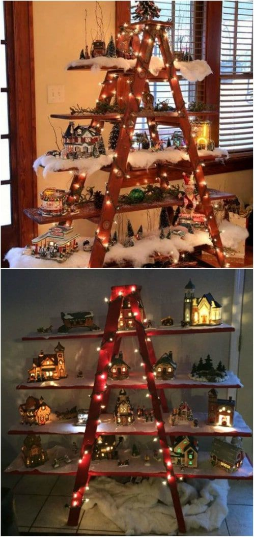 40 Wooden Ladder Repurposing Ideas That Add Farmhouse Charm To Your Home Diy Christmas Village Wooden Ladder Wooden Ladder Decor