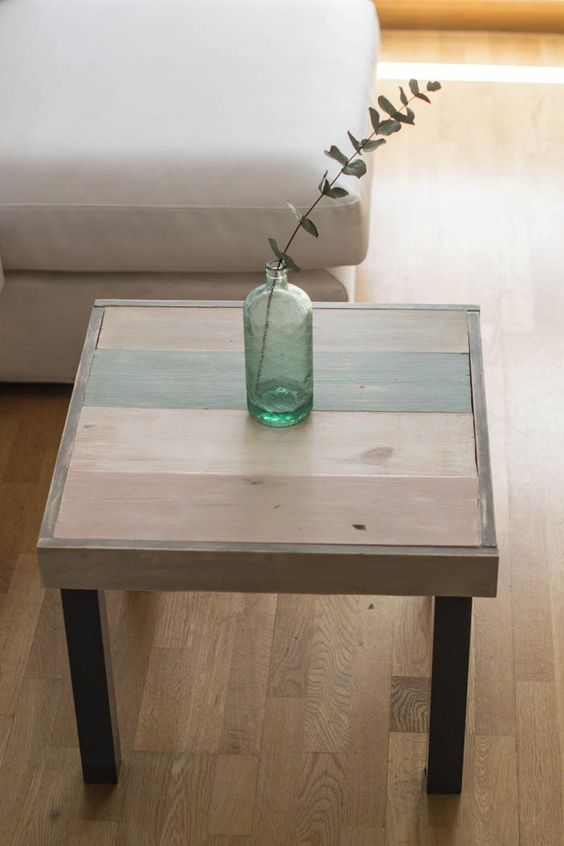 Mesa lack de ikea transformada con tablillas de madera y for Chalk paint muebles ikea