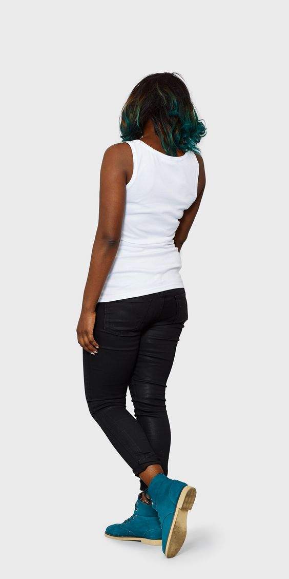 Women's white organic cotton fitted vest | back view | The White T-Shirt Co