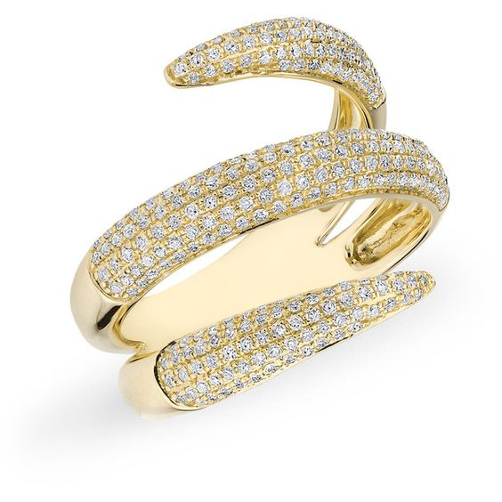 Anne Sisteron  14KT Yellow Gold Diamond Claw Wrap Diamond Ring (€1.830) ❤ liked on Polyvore featuring jewelry, rings, gold, wrap rings, gold diamond rings, yellow gold rings, yellow gold diamond rings and yellow gold jewelry
