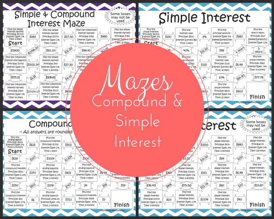 Simple and Compound Interest Activities Bundle 5 Mazes and 1 Set – Compound Interest Math Worksheet