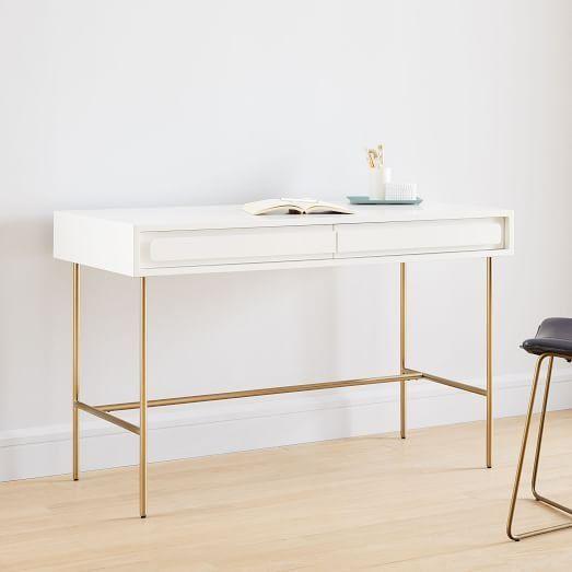 Gemini Desk White Lacquer White Desks Furniture Parsons Desk