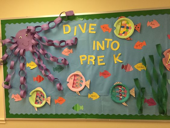 Ocean themed classroom. Preschool ideas and sea ideas. Bulletin boards with octopus and fish.