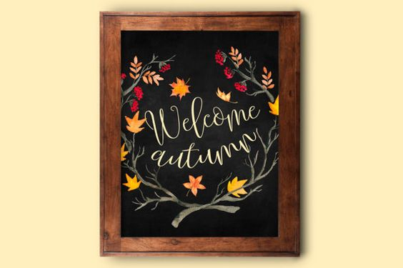 Autumn Printable, Welcome Autumn, Autumn Sign, Welcome wreath, Fall welcome sign, Welcome Fall wreath, Autumn Poster, Welcome Autumn Art