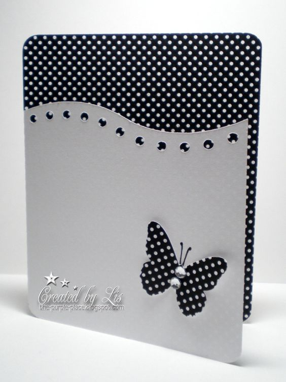 cute black and white butterfly card:
