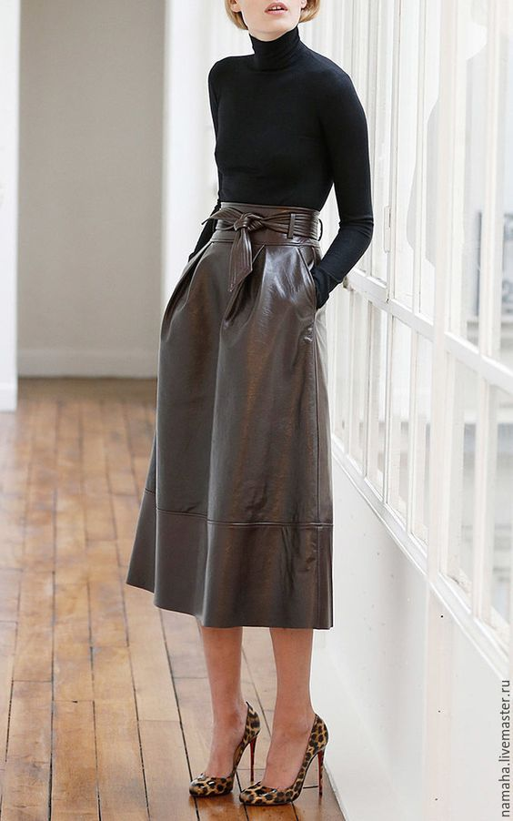 Купить Юбка кожаная, юбка чёрная, юбка колокол, юбка трапеция - юбка, юбка кожаная