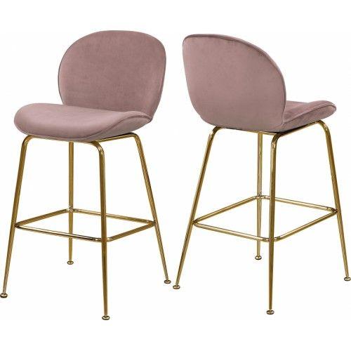 sale retailer b4d9b 6d585 Blush Pink Velvet Mid Century Counter Stool Gold Legs Set of ...
