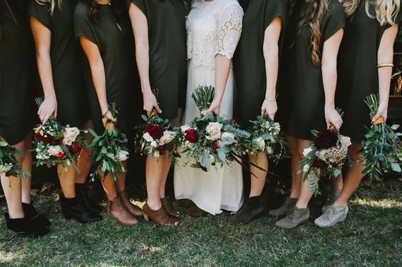 hipster diy wedding, zara bridesmaid dresses, olive green bridesmaids