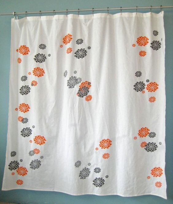 orange and gray curtains - photo #15