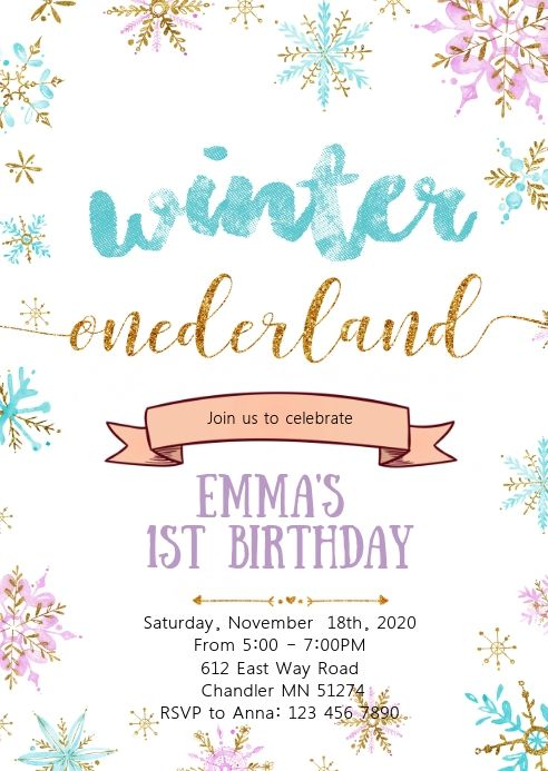 Winter Onederland Birthday Party Invitation Printable Birthday Invitations Winter Onederland Birthday Party Free Birthday Invitation Templates