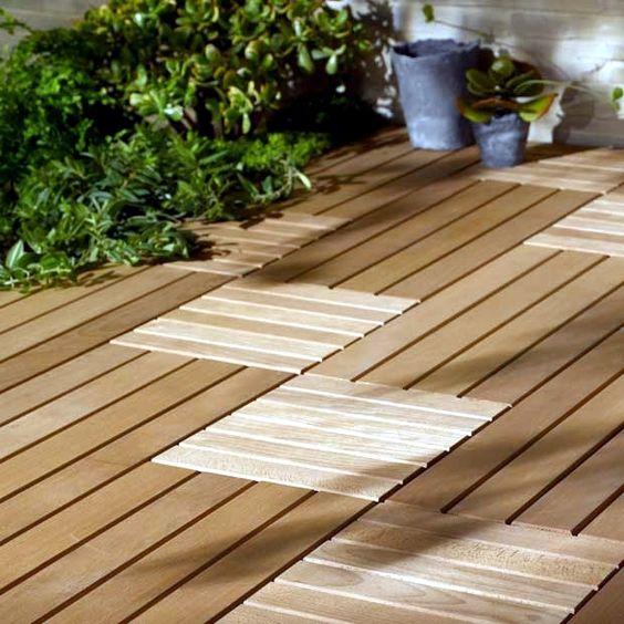 Dalle De Bois Pour Sol Interieur : Pour couvrir son vilain sol de balcon en b?ton, un joli parquet : des