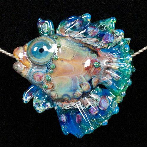 Glass Lampwork Bead Fish  Blue Green Fin by PatsyEvinsStudio, $117.00