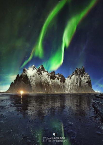 Northern lights over Stokksnes, Iceland  (by Juan Pablo de Miguel)