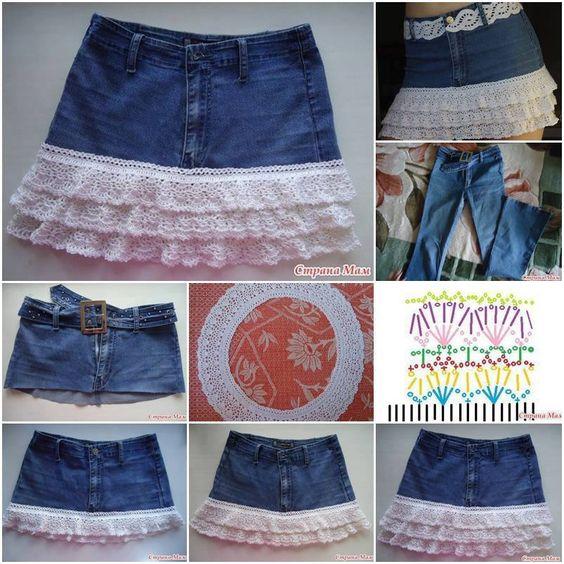 reciclar pantalon en falda moda pinterest faldas