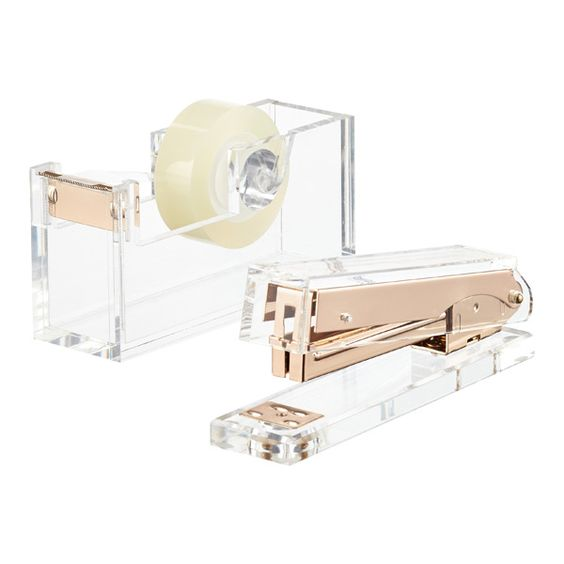 LOVE the rose gold interior metal! Acrylic Tape Dispenser & Stapler
