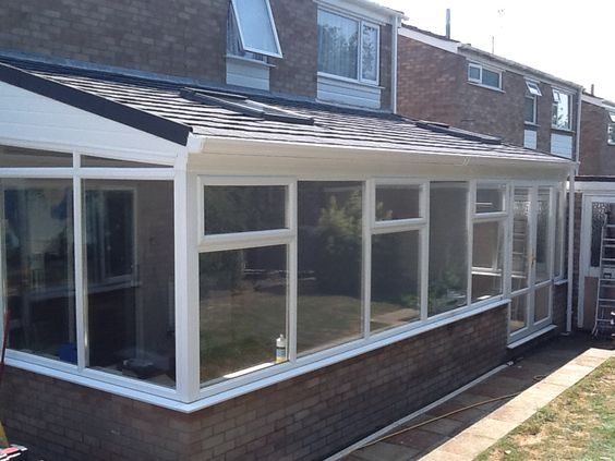 Lean To Tiled Conservatory Roof With Two Roof Windows Curved Pergola Conservatory Roof Tiled Conservatory Roof