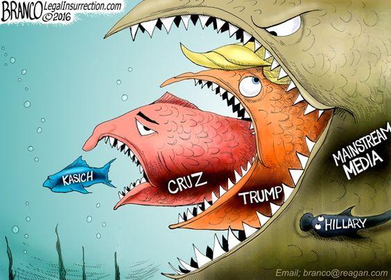 Image result for trump vs hillary political cartoon media winner