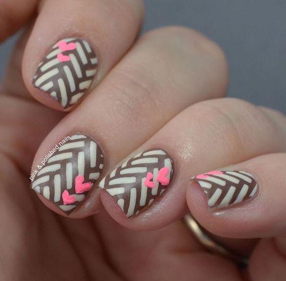 Brown and Tan Safari Nails and Little Pink Hearts