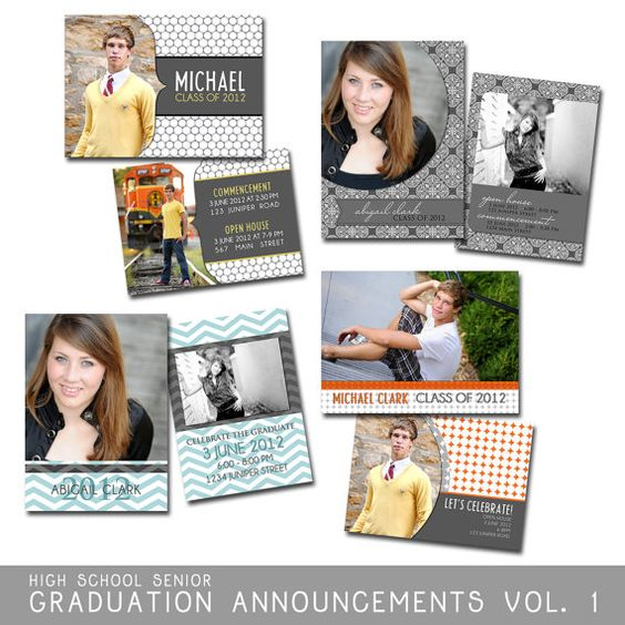 Taylor graduation announcements photoshop templates for photographers high school seniors 8 for Graduation templates photoshop