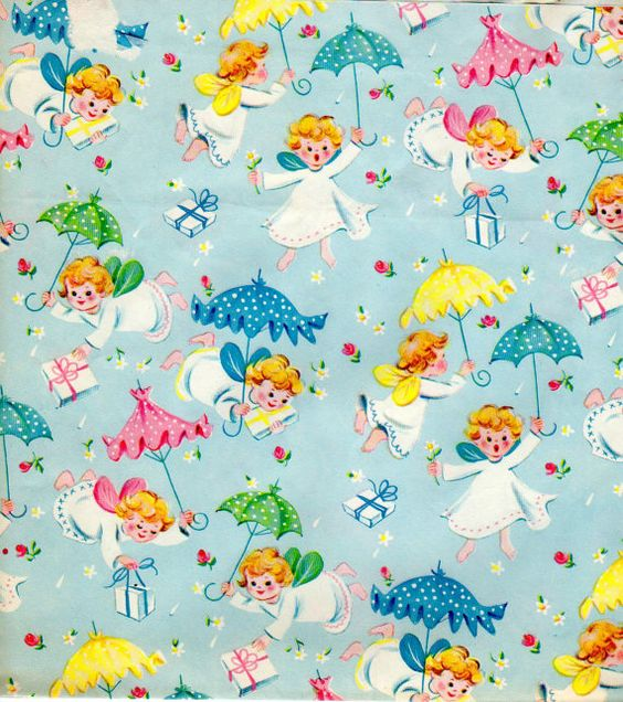 Vintage Baby Shower Wrapping Paper 1950s by vintagebarrelgreet, $5.99