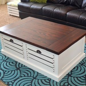 coffee table with crates for storage by Ryobi Nation