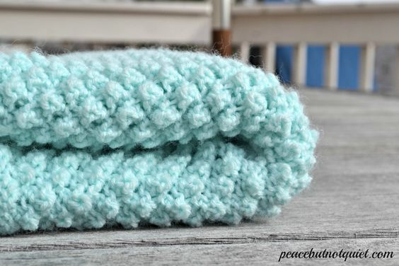 Knit Popcorn Stitch In The Round : An adorable popcorn baby blanket pattern Knitting, Beginner knitting patter...