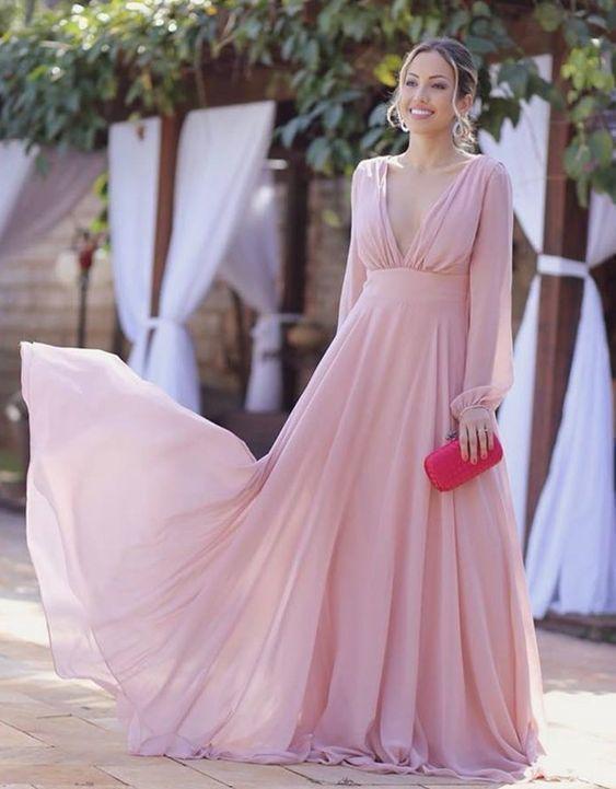 Vestido De Maternidad Rosa In 2020 Chiffon Evening Dresses Long