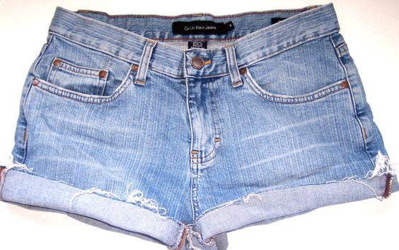 Calvin Klein Denim Shorts 6 CUT OFF Vintage Wash Grunge Jeans Hippy Festival 6 #CalvinKlein #Denim