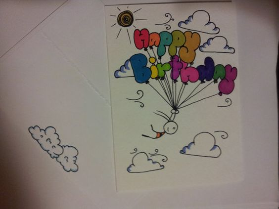 Hand Drawn Birthday Card by CuteLilStuffs on Etsy 250 – Birthday Card Drawing Ideas