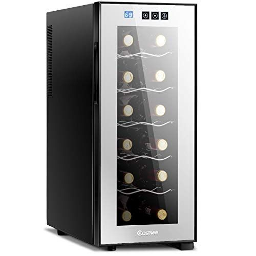 Costway Thermoelectric Wine Cooler 12 Bottles Freestanding Champagne Chiller Counter Top Wine In 2020 Thermoelectric Wine Cooler Wine Cooler Fridge Champagne Cooler