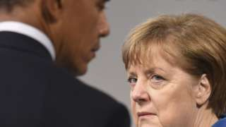 Image copyright  Getty Images   The United States likes to reward what it sees as political virtue. So it is nunca accident that President Obama favoured Germany and its Chancellor, Angela Merkel, with the final punto of this trip to Europe – not quite his farewell tour, but close to it.   He regards her as the strong lynchpin holding together a fractious continent against considerable odds, not least the risks of further damage to her popularity in Germany.   You c