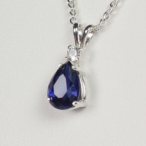 sapphire sterling zilveren ketting blauw blue sapphire pendant gratis keten