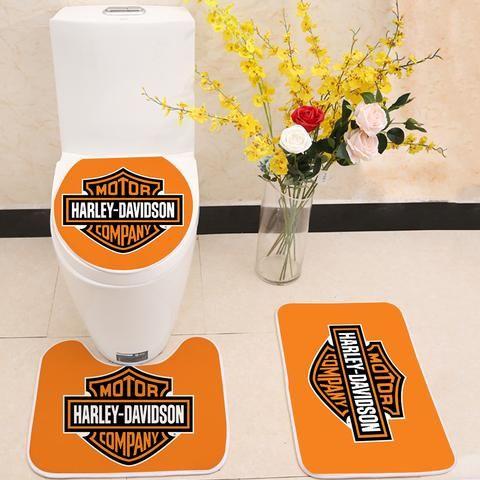 Harley Davidson Motor Company Logo Floor Carpet Toilet Rug Lid