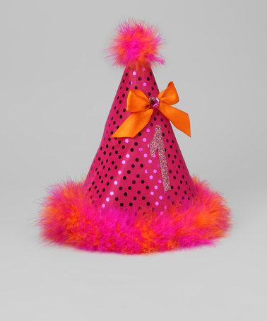 Fuschia & Orange Sequin '1' Party Hat by Bubblegum Divas