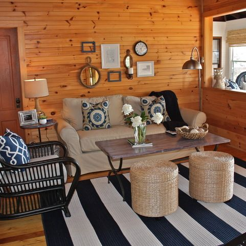 Ideas to work with knotty pine in room T insists on leaving as is.