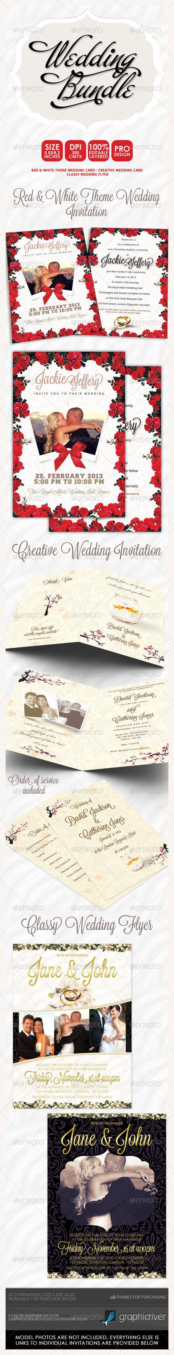 Wedding Invitation Bundle 3 — Photoshop PSD #birthday invitation #wedding invitations • Available here → https://graphicriver.net/item/wedding-invitation-bundle-3-/3948301?ref=pxcr