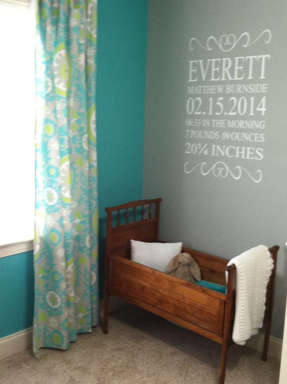 Everett's aqua, apple, gray and white woodland nursery. Family heirloom cradle and wall decal.