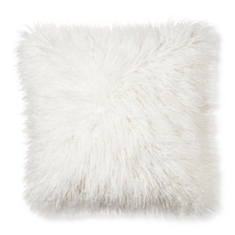I love this pillow! It is so cute! Mongolian Fur Decorative Pillow - Cream (Square) - Xhilaration™