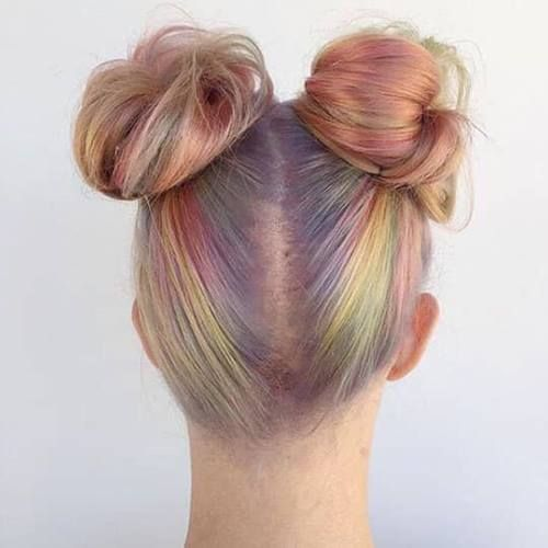 Photo Of Rainbow Two Bun Hairstyle Two Buns Hairstyle Bun Hairstyles Two Ponytail Hairstyles
